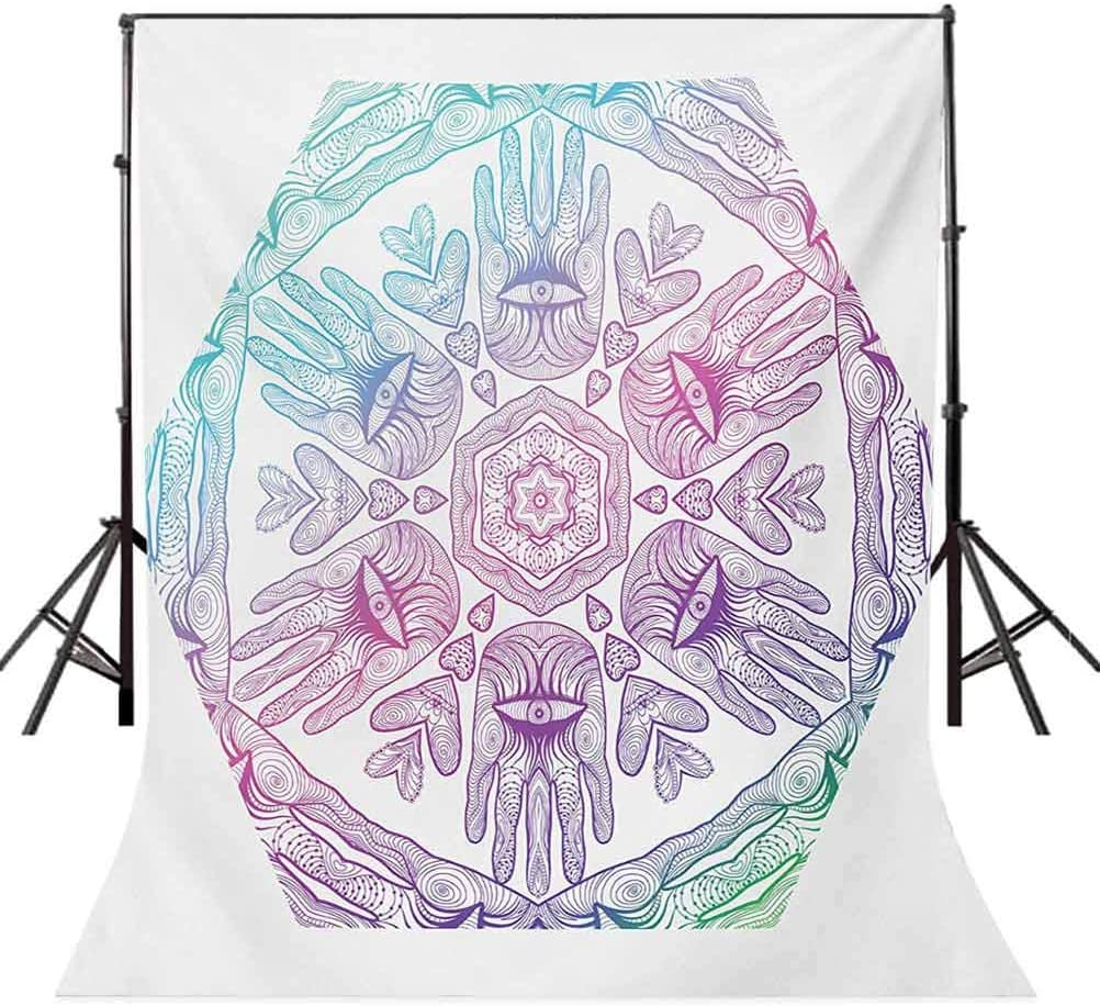 Hamsa 10x15 FT Backdrop Photographers,Evil Eye Themed Boho Ombre Color Pattern Hamsa Hands Cosmos Mystical Background for Party Home Decor Outdoorsy Theme Vinyl Shoot Props Blue Purple