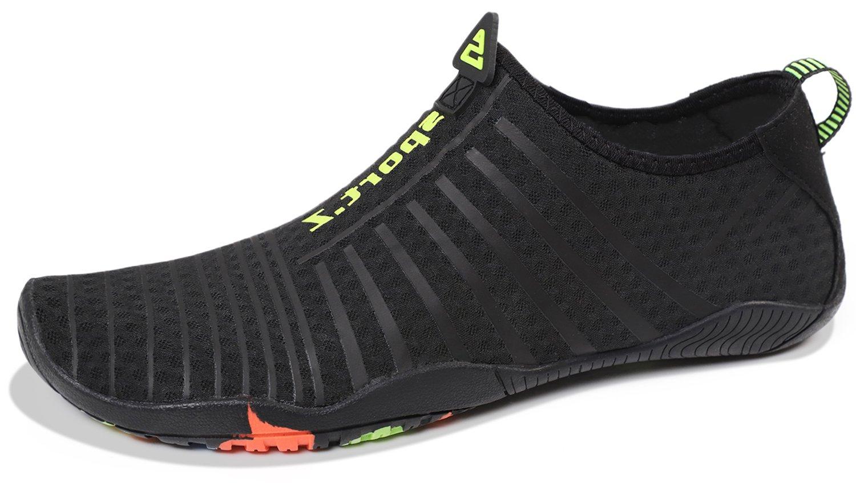 Heeta Water Sports Shoes for Women Men Quick Dry Aqua Socks Swim Barefoot Pool Beach Shoes for All Water Sport Black_B 11 US women/10 US Men
