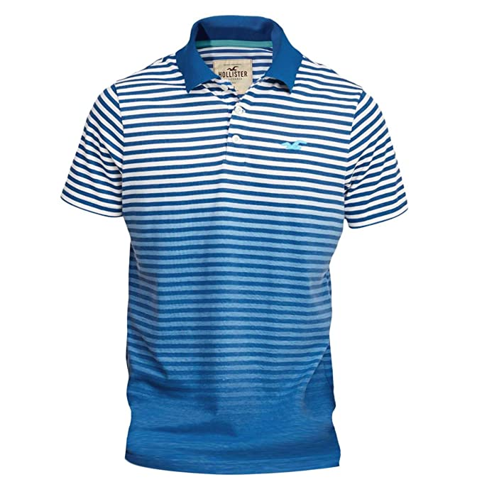 Hollister Colonia para hombre de rayas Slim Fit Icon Polo Shirt Tee Azul azul X-