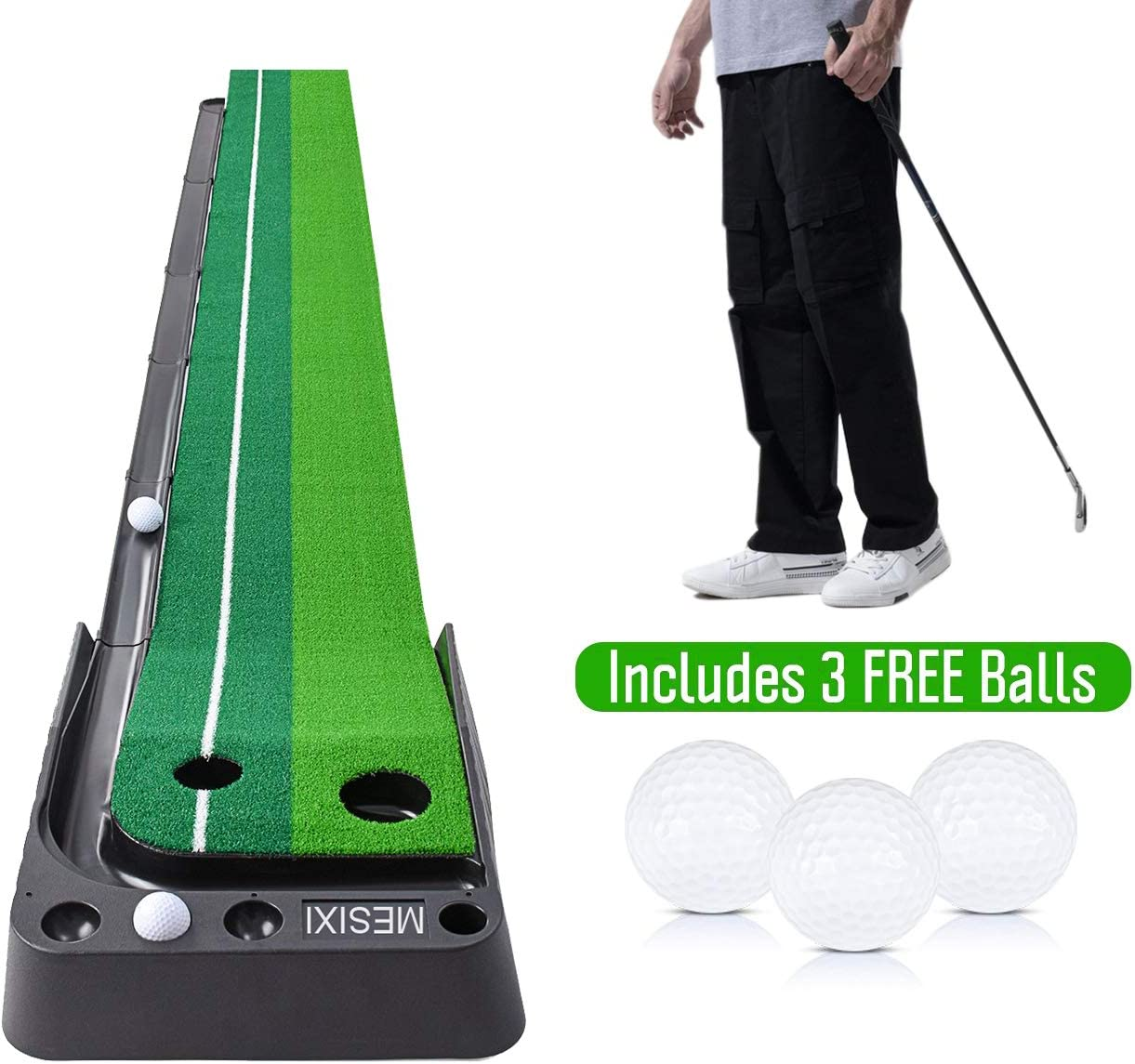 Mesixi Indoor Outdoor Golf Putting Green Mat Portable Baffle Plate Auto Ball Return System Mini Golf Practice Training Aid Equipment Game And Golf Gifts For Men Home Office Outdoor Use