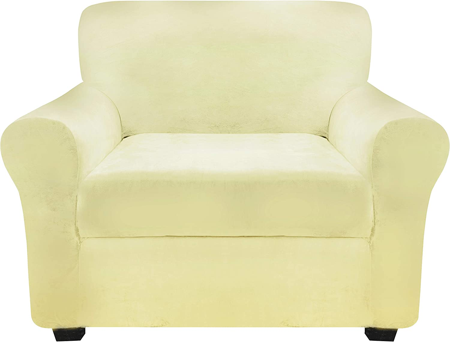 FINERFIBER Velvet High Stretch 2 Piece Armchair Slipcover | Thick Couch Cover for Pets | Couch Covers for 1 Cushion Couch | Furniture Protector for Separate Cushion Couch (Armchair, Ivory)