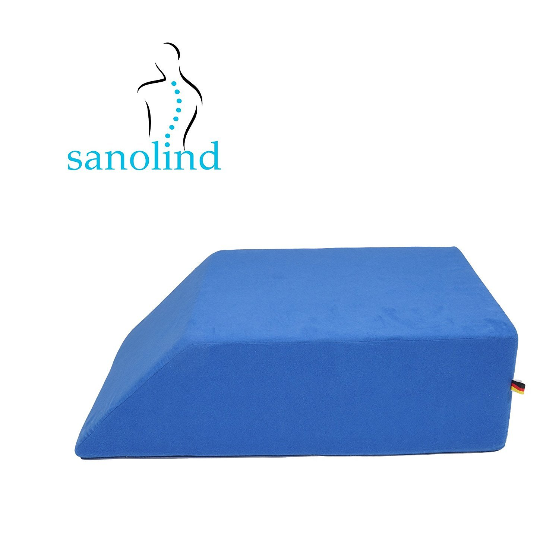 cuscino di supporto alle gambe Cuscino ortopedico Sanolind per elevare gli arti inferiori per le vene; aiuta in caso di gonfiore//Dimensioni 70 x 50 x 20 cm//blu