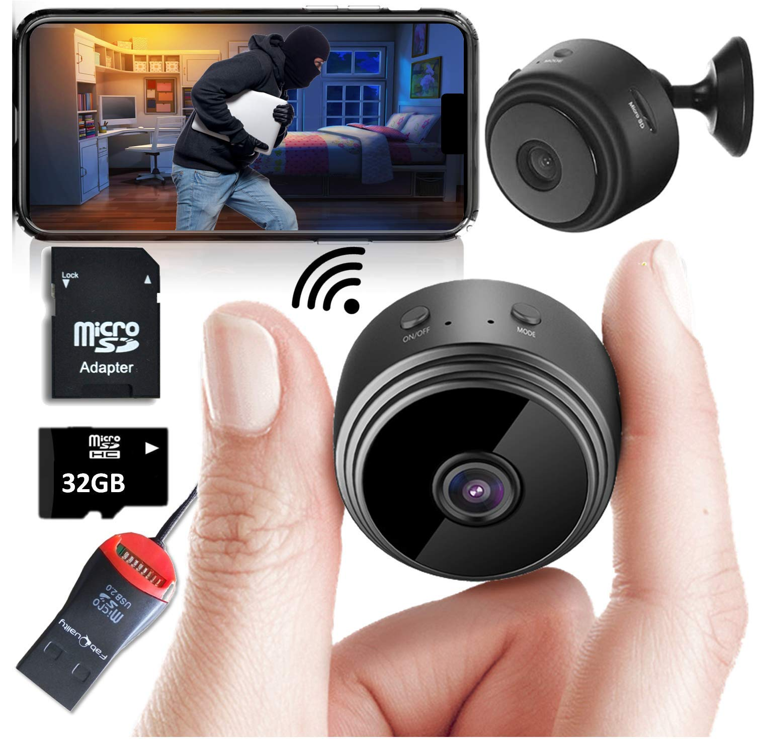 Mini Spy Camera Wireless Hidden Home WiFi Security Cameras with App 1080P, Inc 32GB SD Card + Plus More. Night Vision Motion Activated Indoor Outdoor iPhone/Android Phone Small Nanny Cam for Cars etc by fabquality