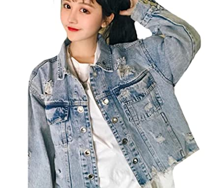 a27483b4d21a AngelSpace Womens Casual Spring Summer Ripped-Holes Denim Jacket Coat As  Picture S