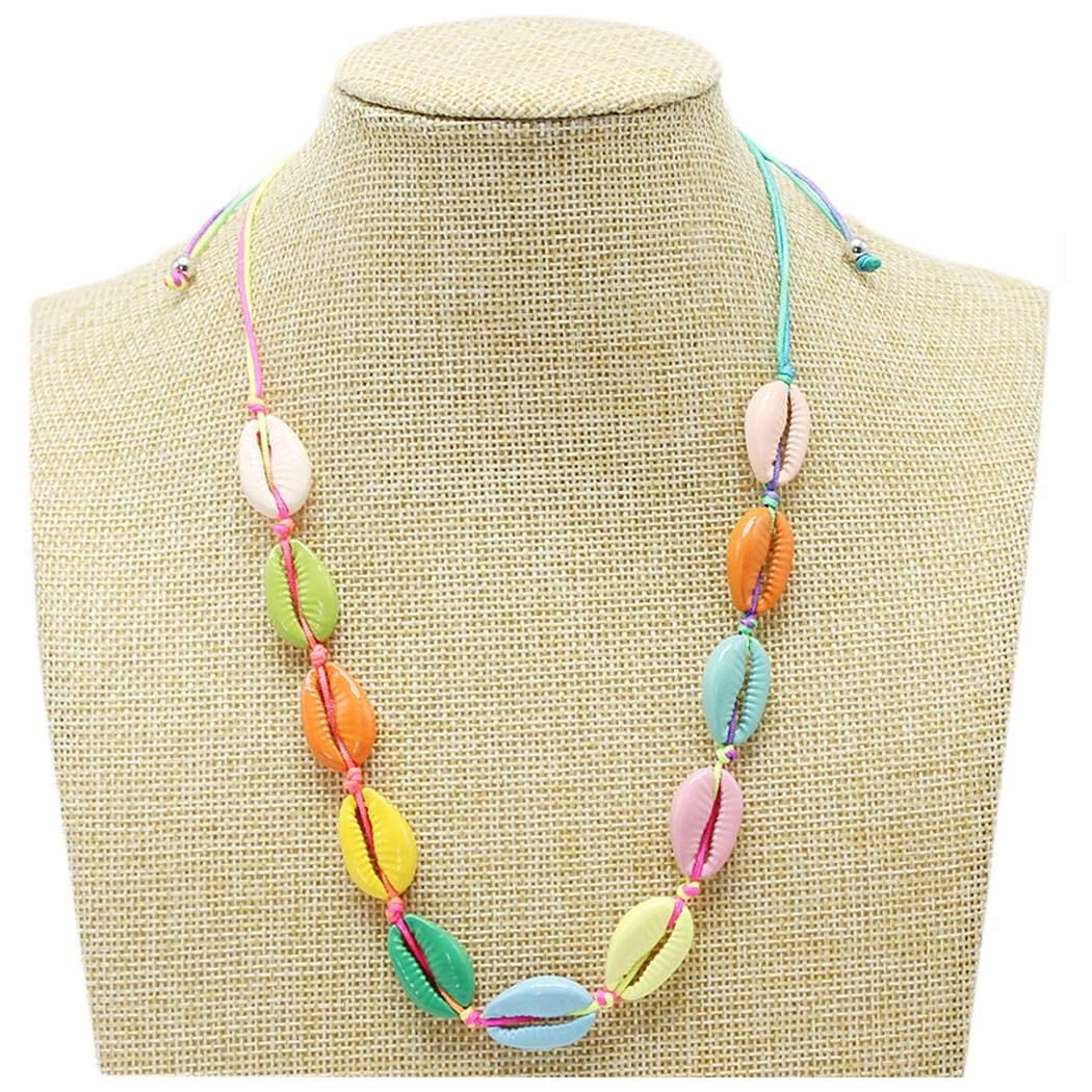 amiubo Femmes Hommes Mode Casual Party Shell Naturel Multicolore Collier Cordon Colliers
