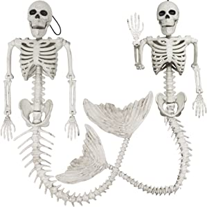 2 Spooky Skeleton Mermaid Plastic Bone with Posable Joints for Halloween Props Decorations, Indoor/Outdoor Spooky Scene Party Favors, Trick or Treat Decor