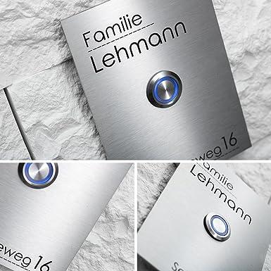 Acero inoxidable timbre con grabado y LED