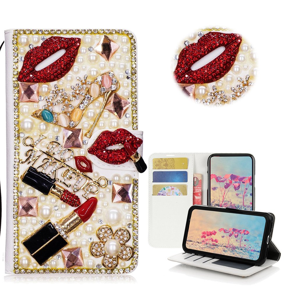 STENES LG Tribute HD Case, LG X Style Case, LG Volt 3 Case - STYLISH - 3D Handmade Crystal Lipstick Girls High Heel Flowers Wallet Credit Card Slots Fold Media Stand Leather Cover Case - Red