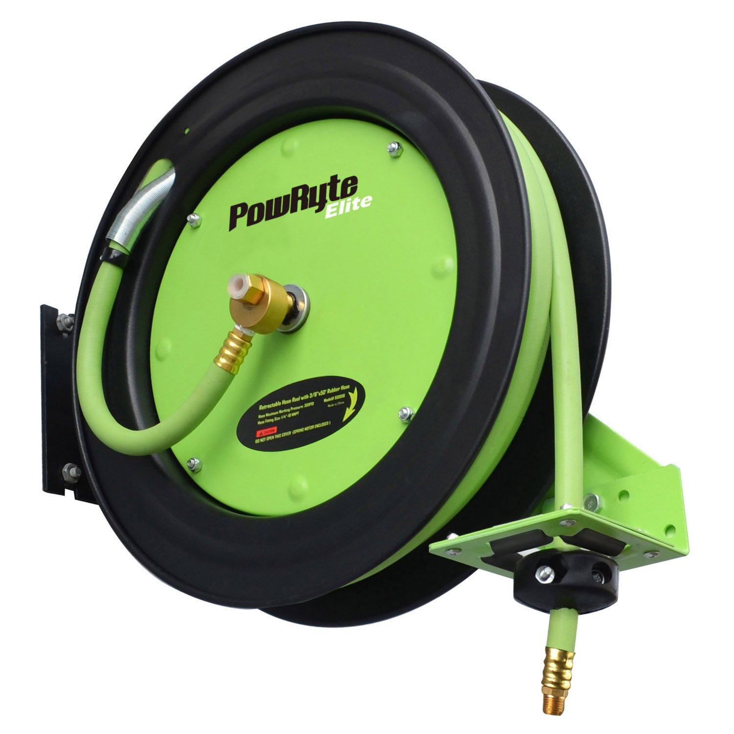 PowRyte Elite Retractable Air Hose Reel with 3/8-Inch by 25-Feet Rubber Air Hose