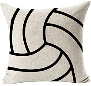 Andreannie Sports Series Vintage Volleyball Cotton Linen Personalized Throw Pillow Case Cushion Cover Decorative for Home Office Room Sofa Car Living Room Square 18 X 18 Inches¡­
