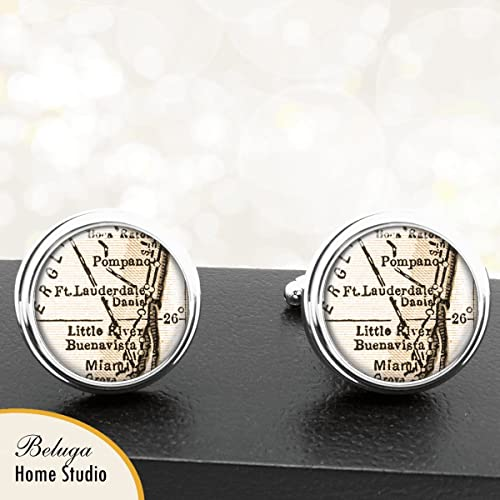 Map Of Fort Lauderdale Florida.Amazon Com Map Cufflinks Fort Lauderdale Fl Map Cufflinks Handmade