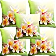 "meSleep Flower 5 Piece Satin Cushion Cover Set - 16""x16"", Red"