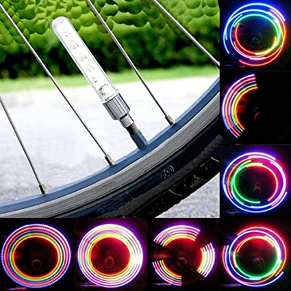 2x Cycling Safety Lamp Bike Bicycle Wheel Tire Valve Cap Spoke Neon LED Lights