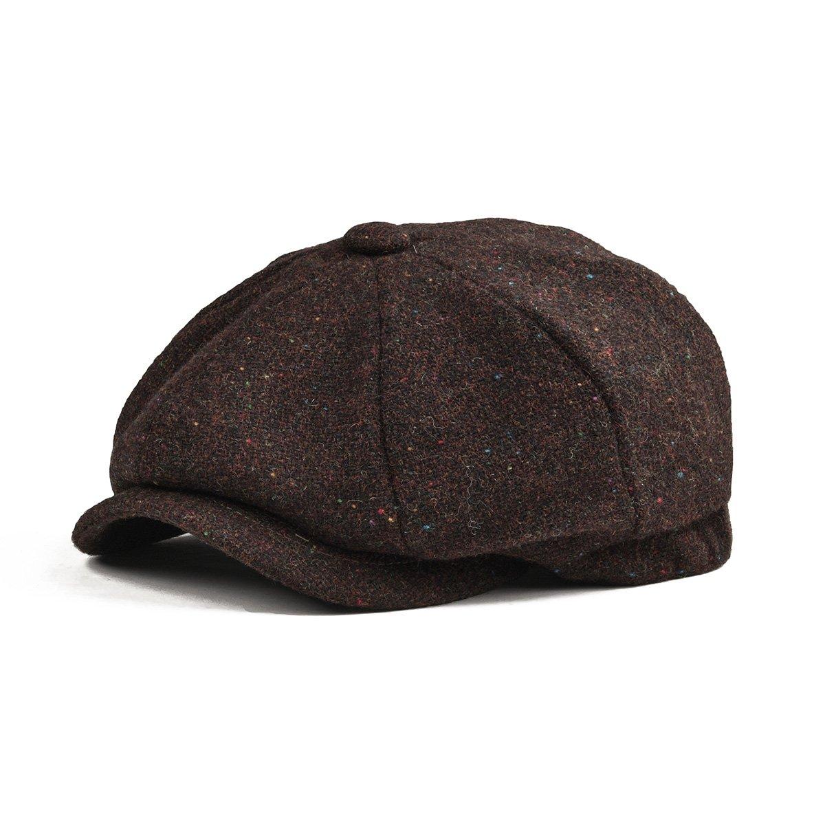 BOTVELA Men's Premium Wool Classic Flat Ivy Newsboy Cap Herringbone Pattern Flecked Hat
