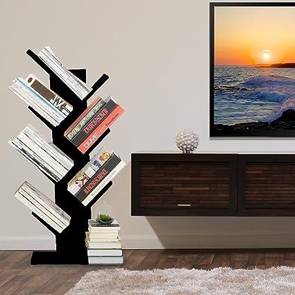 WSTECHCO 7 Shelf Tree Bookcase Wood Compact Book Rack Bookshelf Organizer Display For CDs