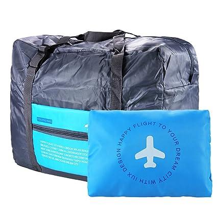 VILLAVIVI Bolsos de Avión con la Maleta de Mano Multifunción Gran Capacidad Plegable Portátil Bolsa de Viaje Equipaje - Azul Verde Naranja (Azul)