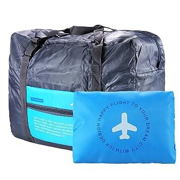 VILLAVIVI Bolsos de Avión con la Maleta de Mano Multifunción Gran Capacidad Plegable Portátil Bolsa de Viaje Equipaje - Azul Verde Naranja (Azul): ...