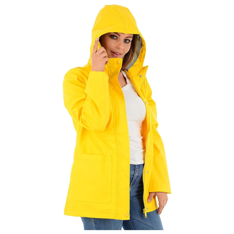 MyShoeStore Ladies PVC Rain Mac Brave Soul Womens Rubberised PU Raincoat Waterproof Festival Parka Parker Hooded Jacket Designer Girls Kagool Cagoule Windbreaker Top Plus