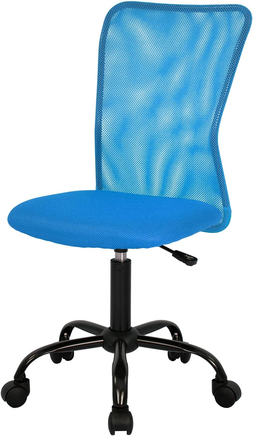 Home Office Chair Mid Back Mesh Desk Chair Armless Computer Chair Ergonomic Task Rolling Swivel Chair Back Support Adjustable Modern Chair with Lumbar Support (Blue)
