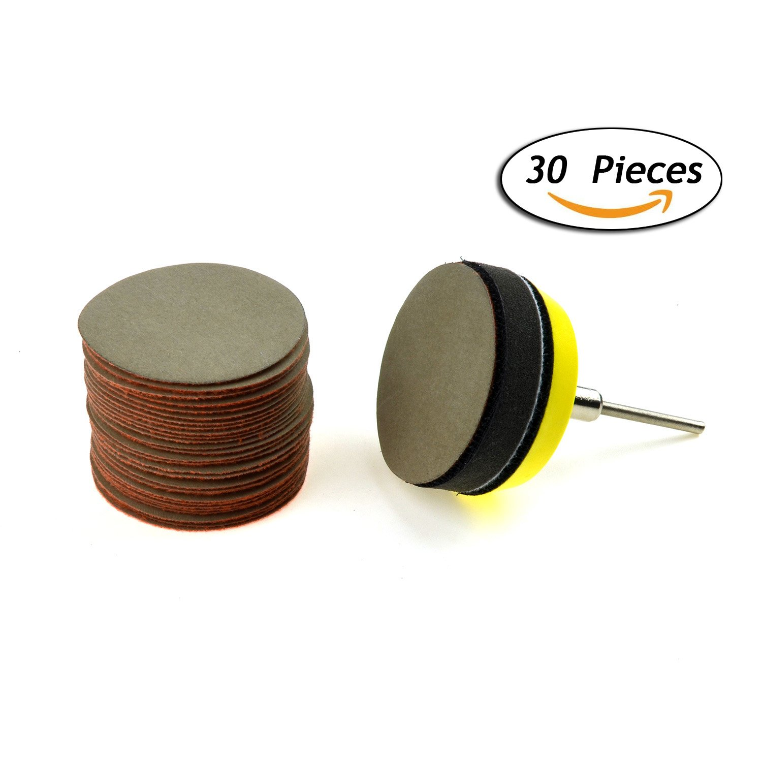 2 inches 10000 Grit Aluminum Oxide Super Fine Wet/dry(Waterproof) Hook and Loop Sanding Discs with a 1/8 inch Shank Backing Pad + Soft Foam Buffering Pad, 30-Pack