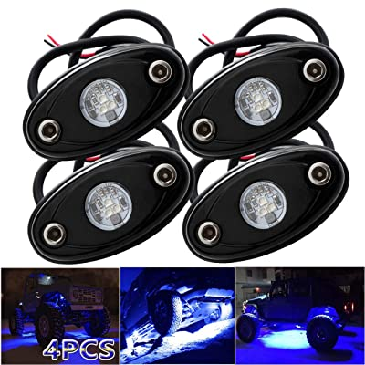 LEDMIRCY LED Rock Lights Blue Kit 4PCS for JEEP Off Road Truck Auto Car Boat ATV SUV Waterproof High Power Neon Trail Lights Underglow Lights Interior Exterior Shockproof(4PCS Blue): Automotive