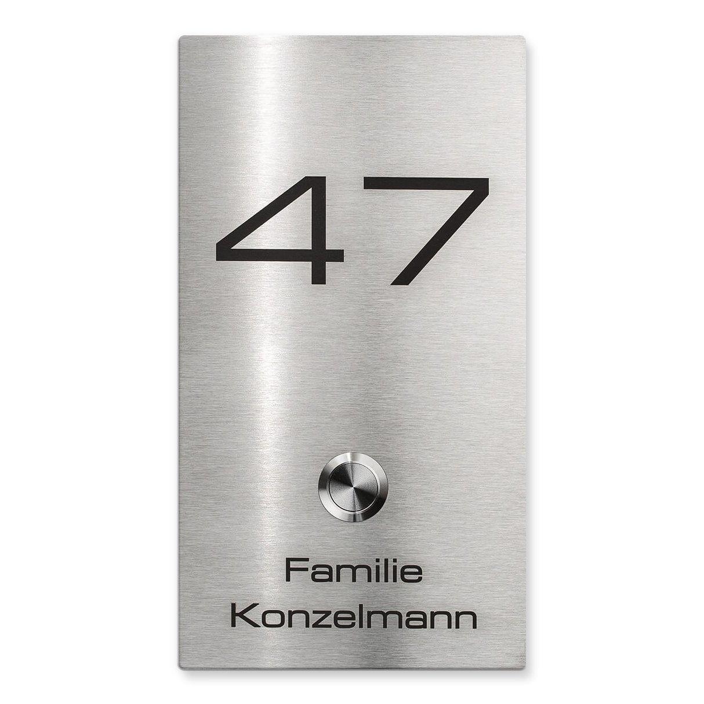 Funkklingel drahtlose Tü rklingel - Edelstahl - Beschriftung Name & Hausnummer - inkl. Steckdosen-Empfä nger - Aufputz Metzler-Trade