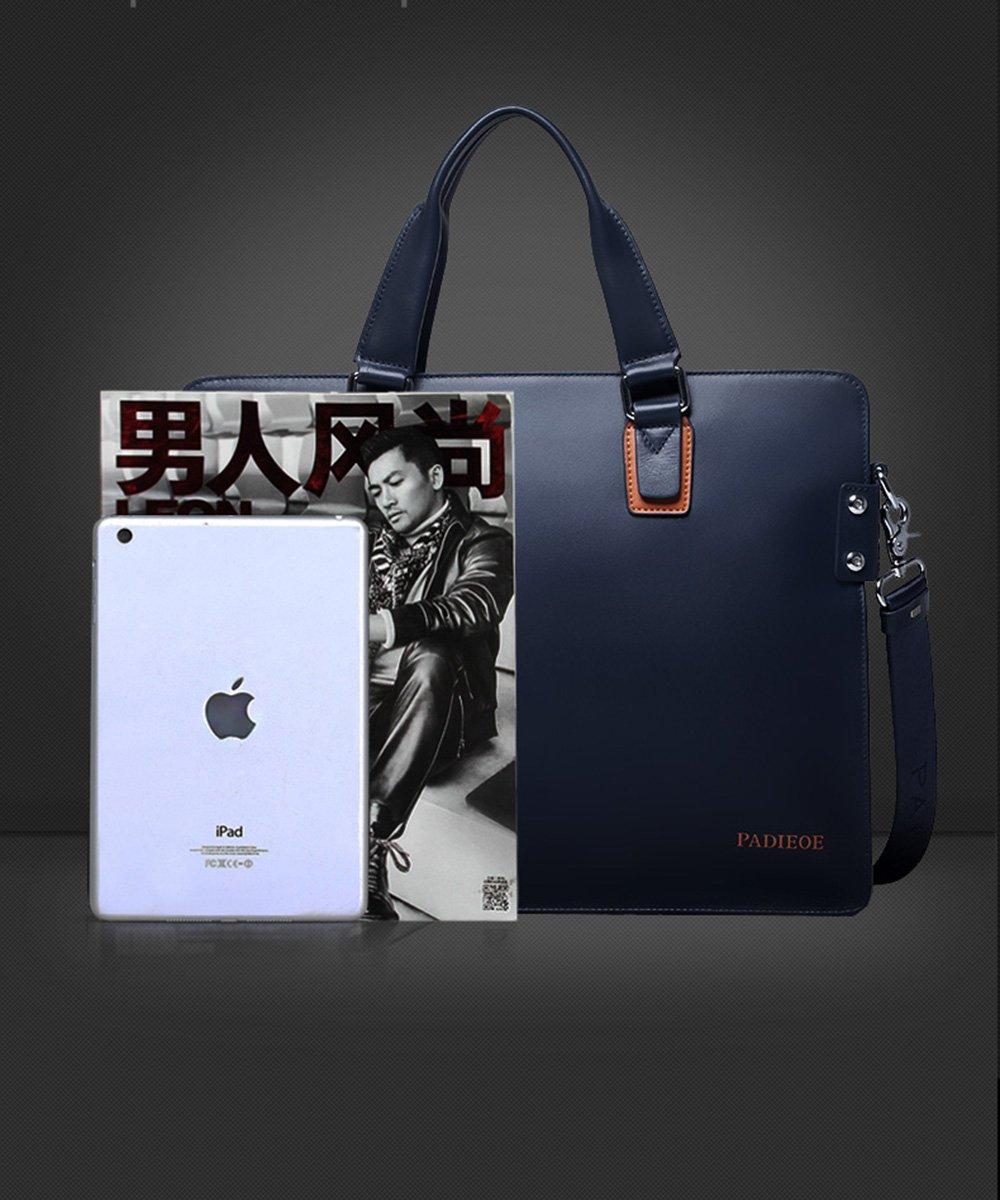 Padieoe Leather Briefcase Shoulder Laptop Business Bags for Men & Women Blue