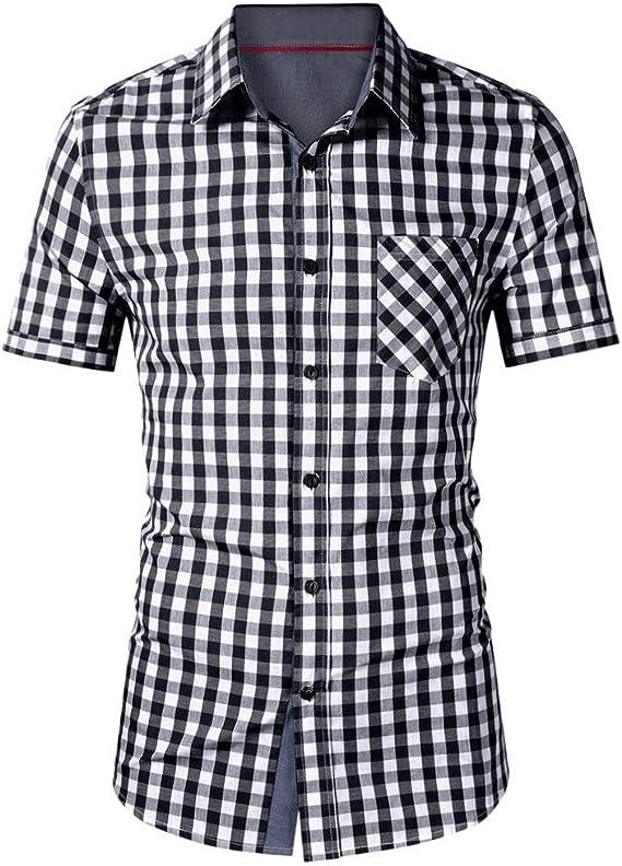 Stoota Mens Casual Button-Down Shirts,Lattice Short Sleeve-Casual-Fashion Tee