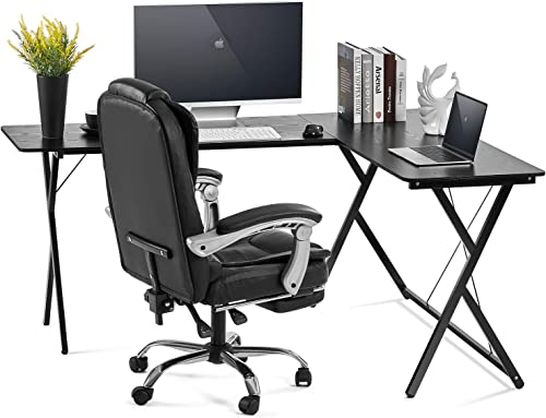 AOOU Computer Desk L-Shaped Desk, PC Monitors Home Office Desk, Corner Table with Simple Modern Design for Easy Assembling, Shiny Surface Scratch Resistant Tabletop, Black