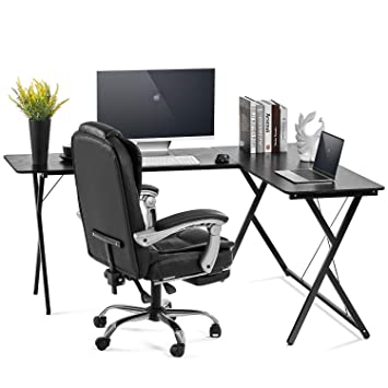 AOOU Computer Desk L-Shaped Desk, PC Monitors Home Office Desk, Corner  Table with Simple Modern Design for Easy Assembling, Shiny Surface Scratch  ...