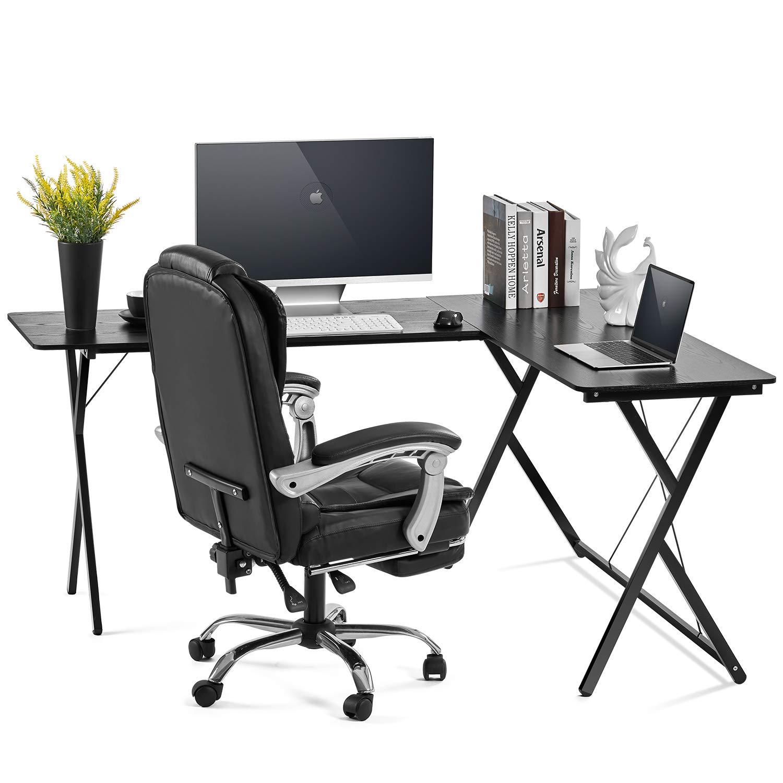 AOOU Computer Desk L-Shaped Desk, PC Monitors Home Office Desk, Corner Table with Simple Modern Design for Easy Assembling, Shiny Surface Scratch Resistant Tabletop, Modern Black