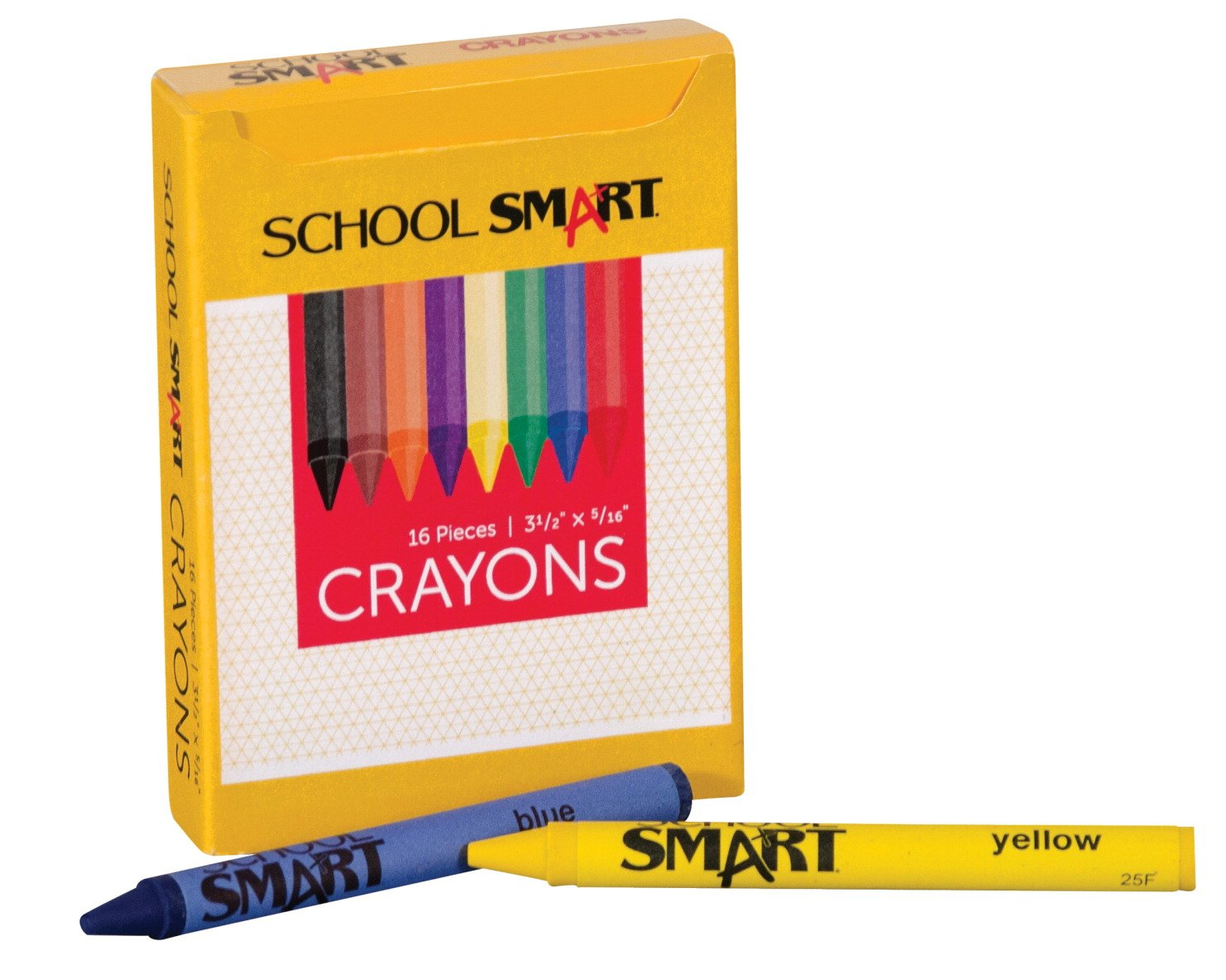 School Smart Standard Non-Toxic Crayons - 3 1/2 x 5/16 inches - Set of 16 - Assorted Colors