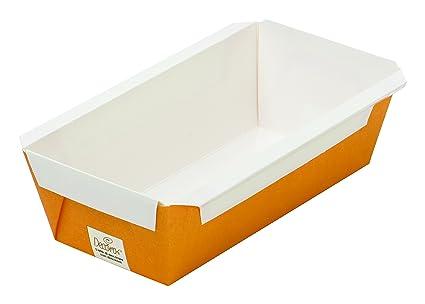 DECORA Plumcake Embalaje Bandejas, Cartón Antiadherente, Naranja, 150 x 65 x 53 mm