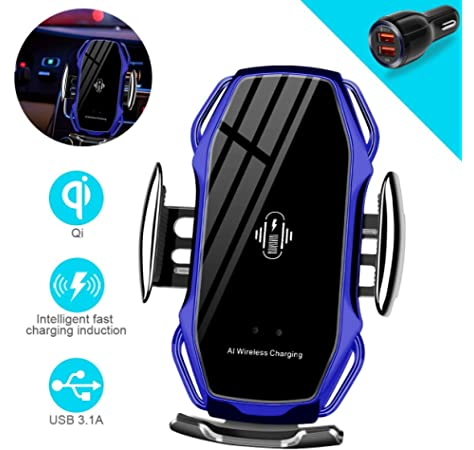 Samsung S10//S10+//S9//S9+//S8//S8 Silver BHUPAL 3 in 1 Car Phone Mount with Sensing Automatic Retractable CLAMP and Qi Wireless Charging Compatible iPhone 11//11 Pro//11 Pro Max//Xs MAX//XS//XR//X//8//8