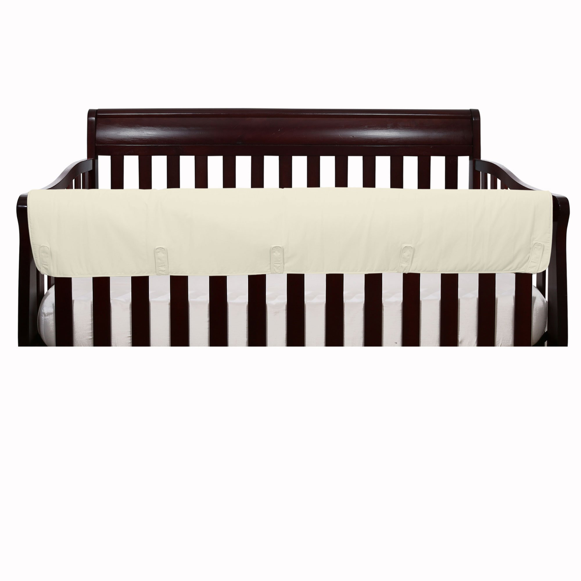 Solid Ivory Front Crib Rail Guard Padded Protector - 100% Cotton Fabrics