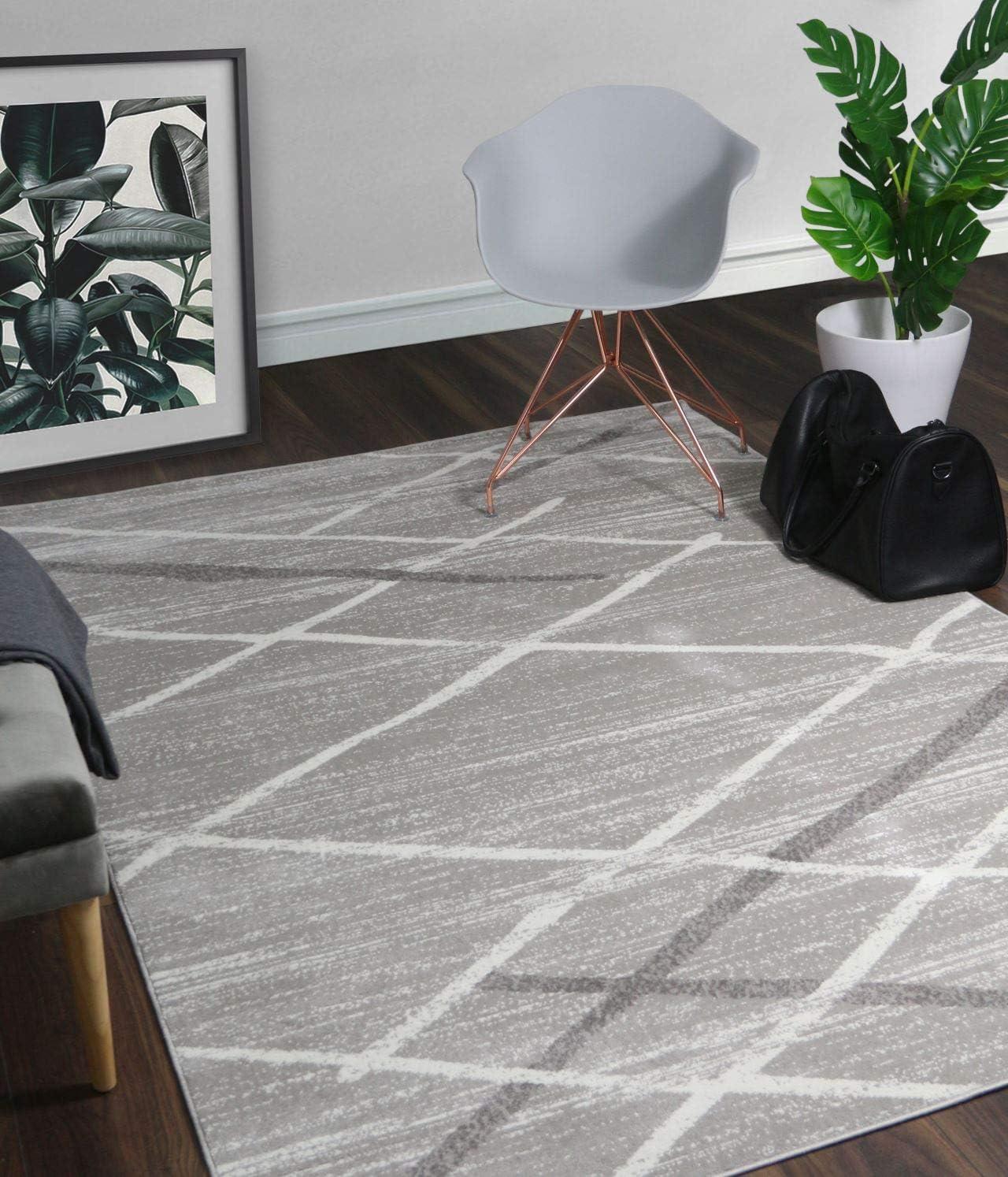 A2Z Rug Modern Contemporary Gray, Dark Gray Salvador 9957 Area Rugs 120×170 cm – 3 9 x5 6 ft