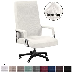H.VERSAILTEX Office Chair Cover Stretch High Back Large Size, Universal Chair Cover for Computer Chair Executive Chair Rotating Swivel Chair Boss Chair Slipcovers Modern Style(Oversized, Ivory White)