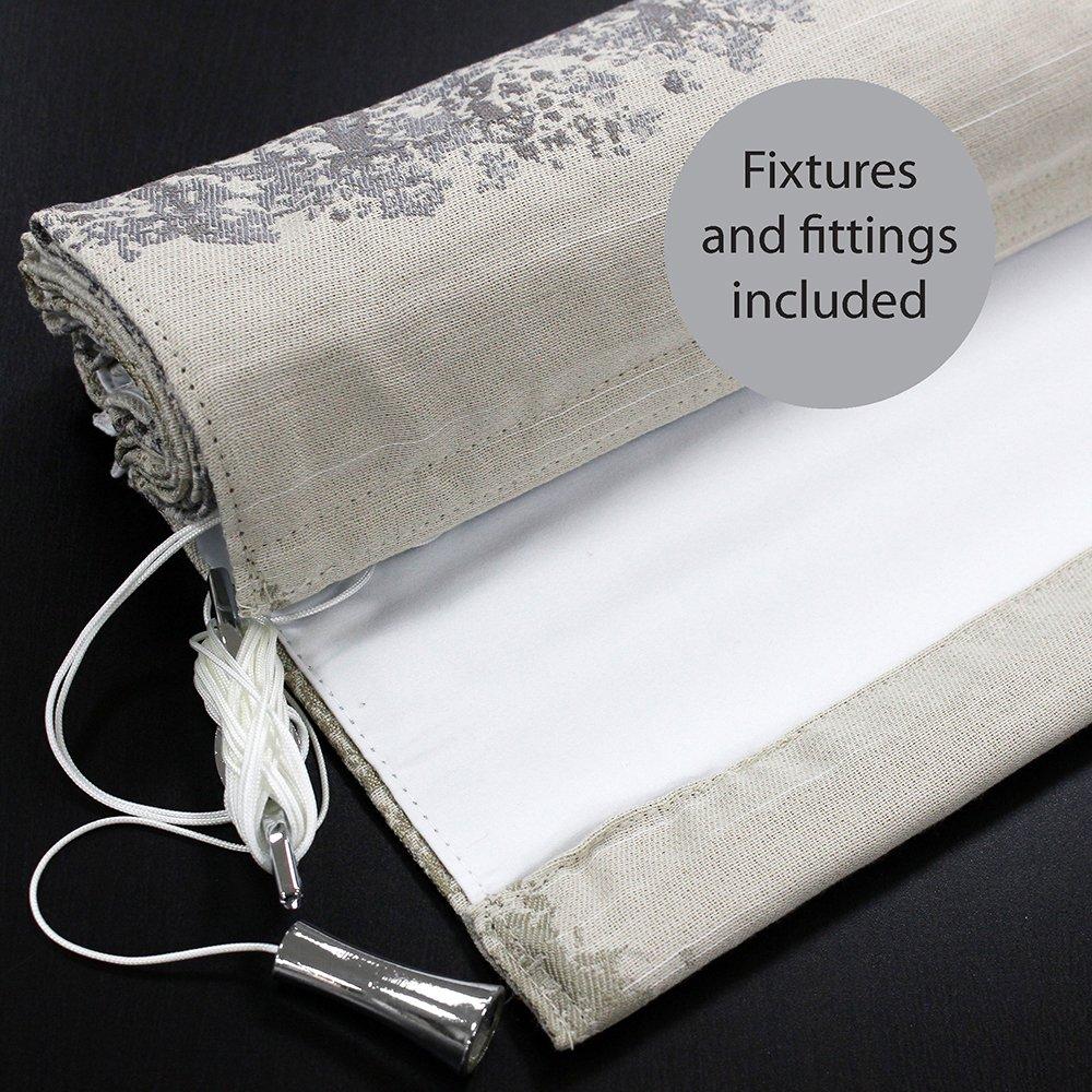 61/cm Drop X 137/cm breit Paoletti Oakdale Deluxe Blackout Raffrollo Silber