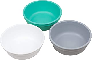 product image for Re-Play Made in USA 3pk 12 oz. Bowls in White, Grey and Aqua | Made from Eco Friendly Heavyweight Recycled Milk Jugs and Polypropylene - Virtually Indestructible (Modern Mint)