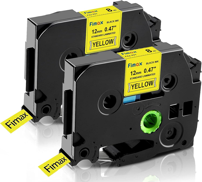 PT-D200 Label Maker 2//Pack 12mm Black on Yellow Tape for P-touch Model PTD200