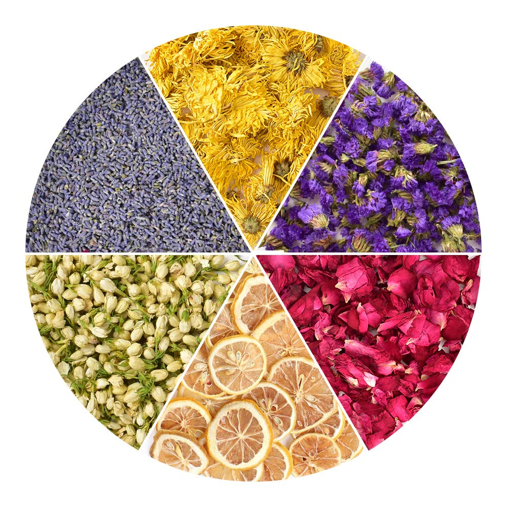 HAIOPS Dried Flowers Soap Making Scents Kits Rosepetals, Lavender, Gold-Chrysanthemum, Forget-Me-Not, Lemon Slice, Jasmine, 6 Bags by HAIOPS