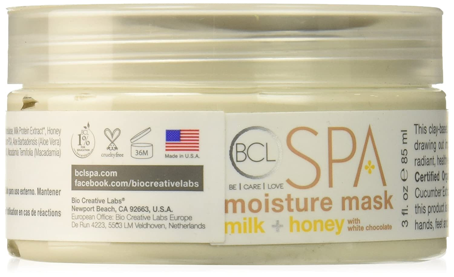 Bio Creative Lab Moisture Mask with White Chocolate, Milk/Honey