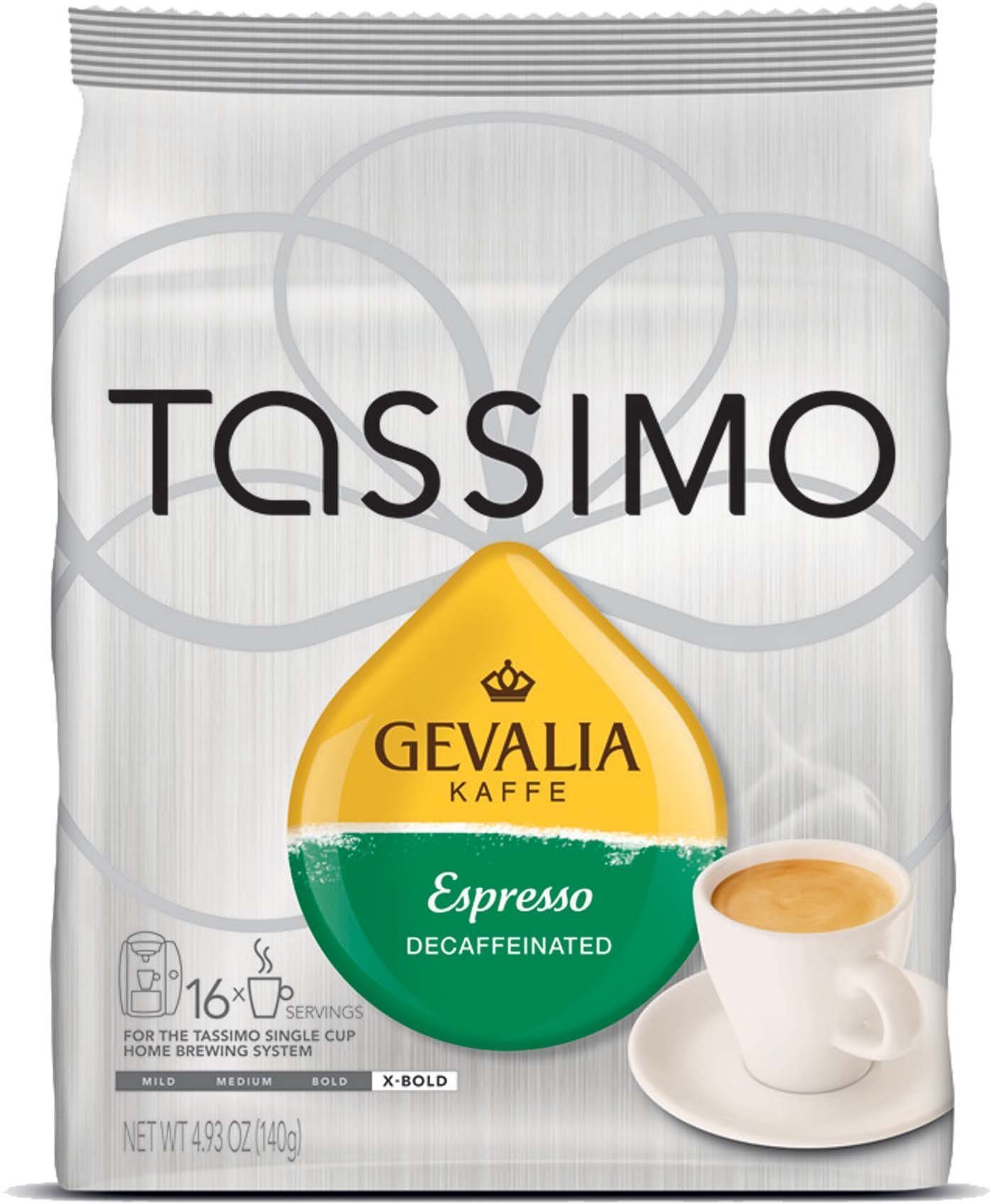 Gevalia Kaffe Decaffeinated Espresso for Tassimo brewers, 16 count (Pack of 2)