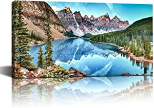 LevvArts Banff National Park Landscape Canvas Wall Art,Moraine Lake and Mountain Range Canadian Rocky Mountains Canvas Print for Home Decor,Nature Scenery Wall Art -24