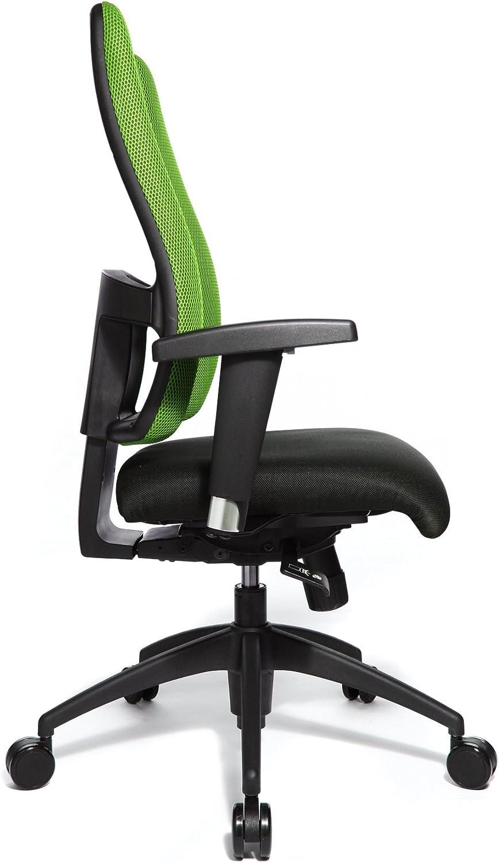 Topstar Chaise de bureau LADY SITNESS DELUXE - l'assise suit vos mouvements grâce à 7 zones de densités différenciées, accoudoirs inclus - noir / vert - chaise chaise ergonomique chaises chaises ergonomiques siège siège de bureau design siège de bureau
