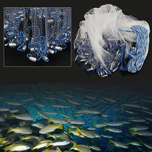 perfeclan Big Fishing Hand Cast Fish Gill Net Easy Throw Red De Agua Salada De Agua Dulce