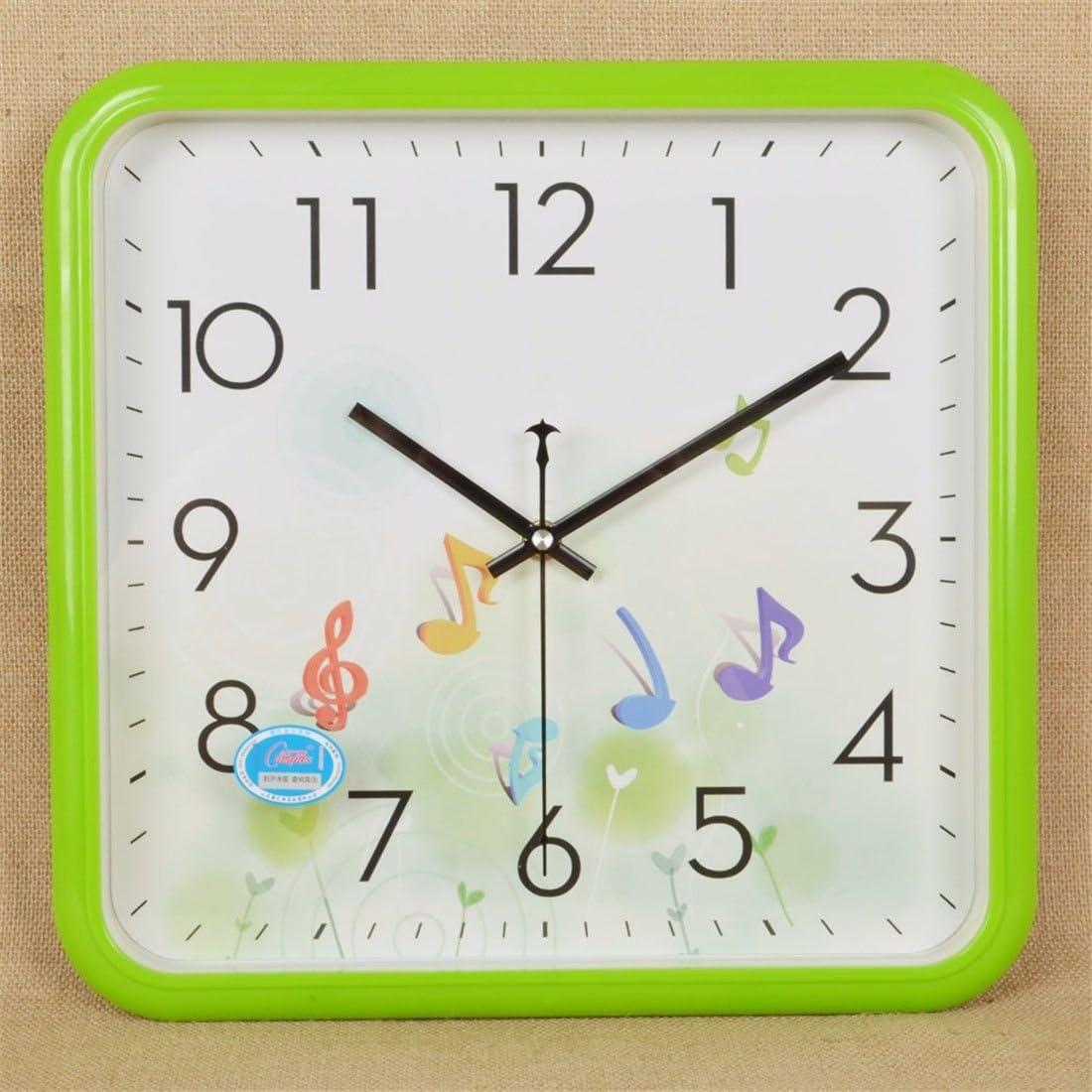 FortuneVin Reloj de Cuarzo de Cuadrados de Silencio 14 en Verde Reloj de Pared operado por baterías Modernos Relojes Colgantes