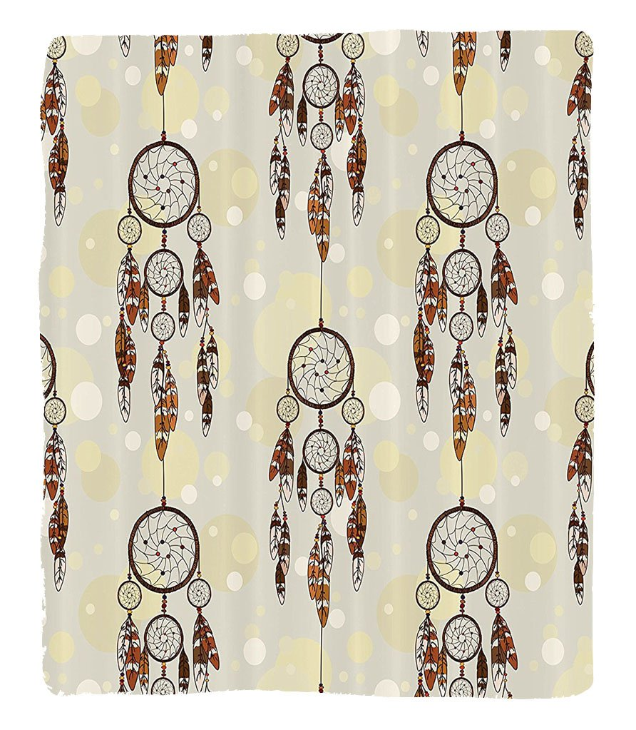 Chaoran 1 Fleece Blanket on Amazon Super Silky Soft All Season Super Plush Native American Decor Collection Illustration ofet of Indian Boho Dreamcatchers in Retro Folk Art Design Fabric et Cream Coho by chaoran