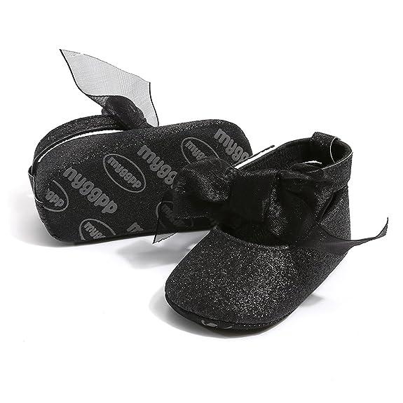 Amazon.com: Bebé niñas Mary Jane Pisos Brillante suela suave ...