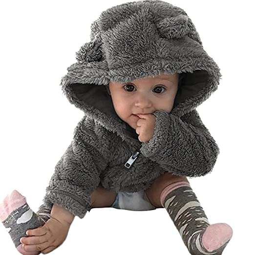 18540d8dd60c Amazon.com  DIGOOD Toddler Baby Boys Girls Cute Ears Hooded Coat ...